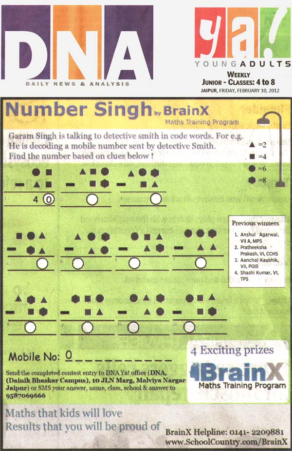 Number Singh Contest by BrainX Math Training Program published in DNA Ya! on 10-02-2012.