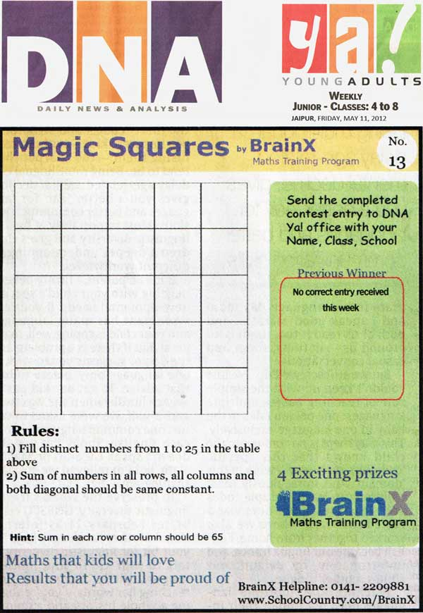 Number Singh Contest by BrainX Math Training Program published in DNA Ya! on 11-05-2012.