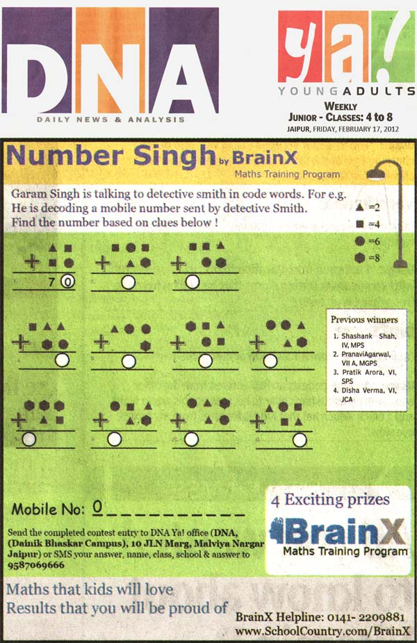 Number Singh Contest by BrainX Math Training Program published in DNA Ya! on 17-02-2012.