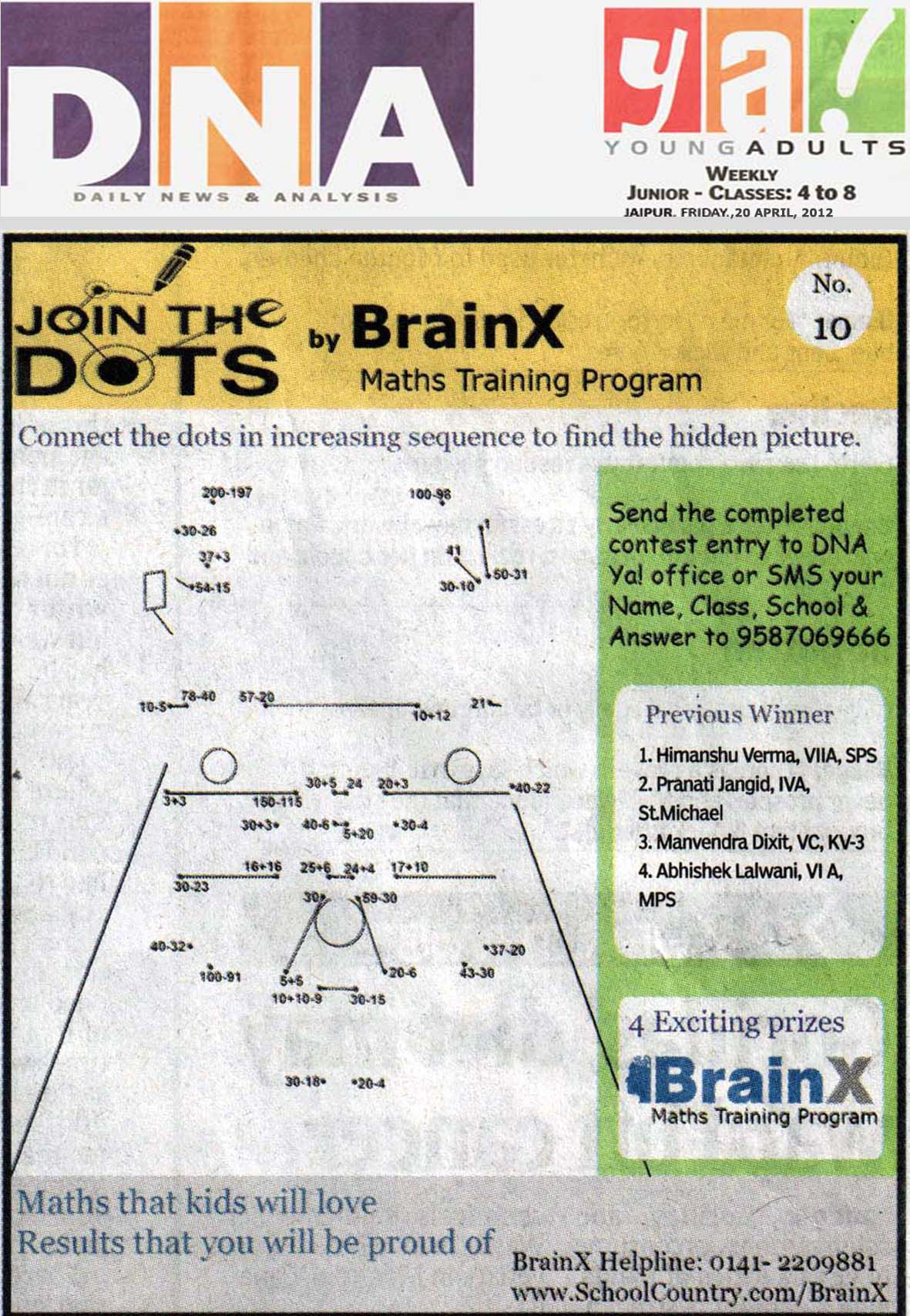 Number Singh Contest by BrainX Math Training Program published in DNA Ya! on 20-04-2012.