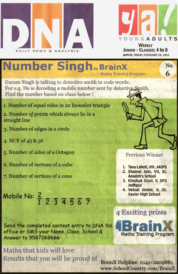Number Singh Contest by BrainX Math Training Program published in DNA Ya! on 24-02-2012.
