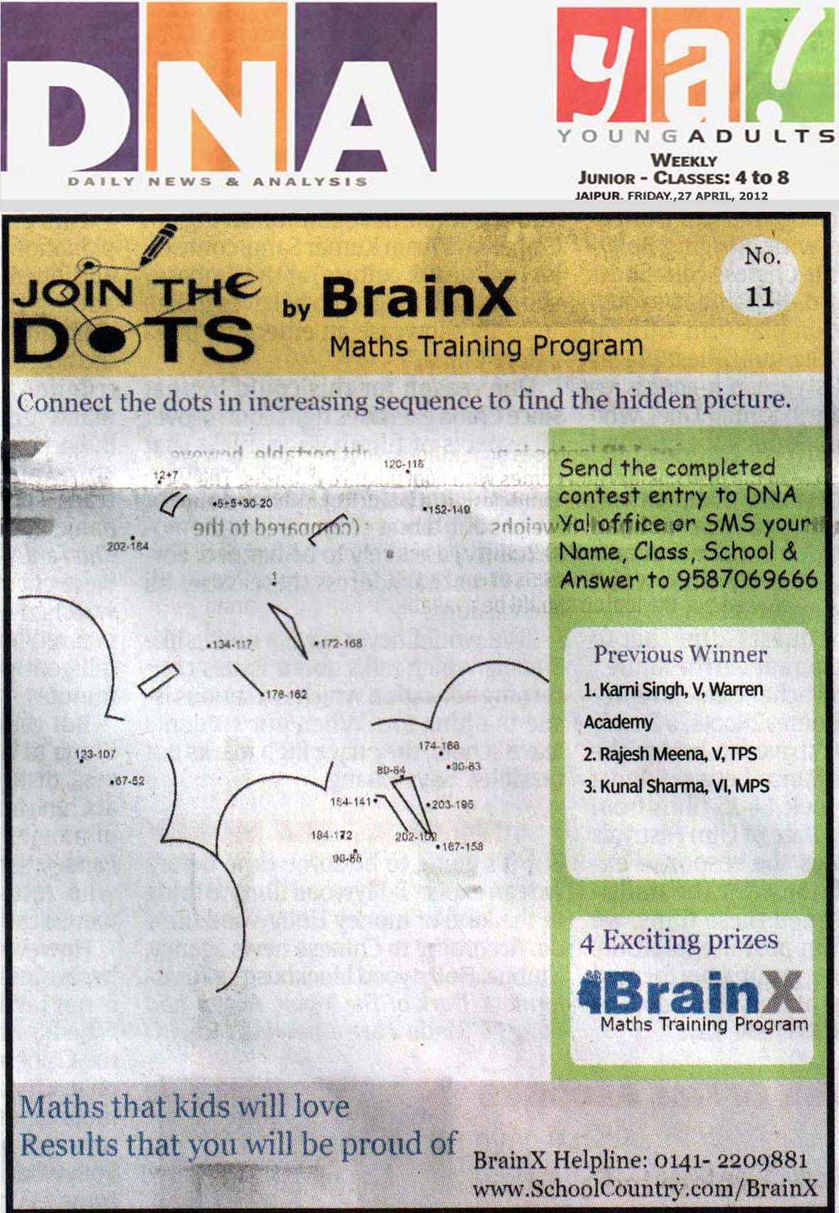 Number Singh Contest by BrainX Math Training Program published in DNA Ya! on 27-04-2012.