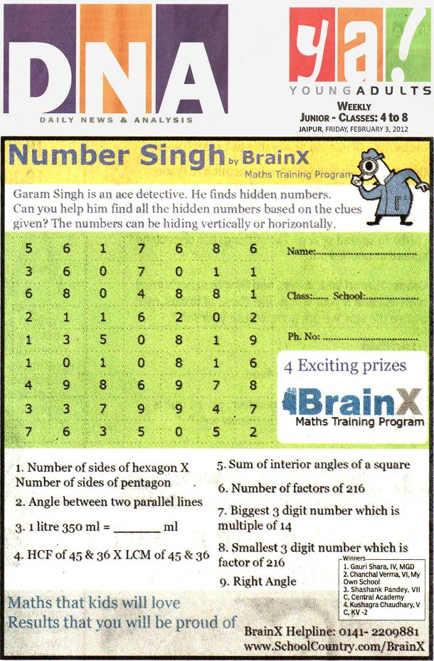 Number Singh Contest by BrainX Math Training Program published in DNA Ya! on 3-02-2012.