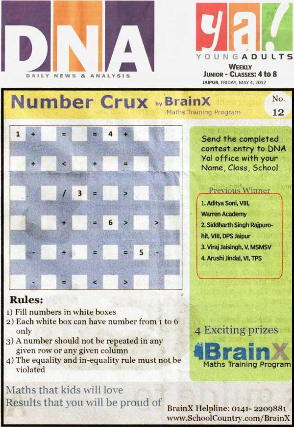 Number Singh Contest by BrainX Math Training Program published in DNA Ya! on 4-05-2012.