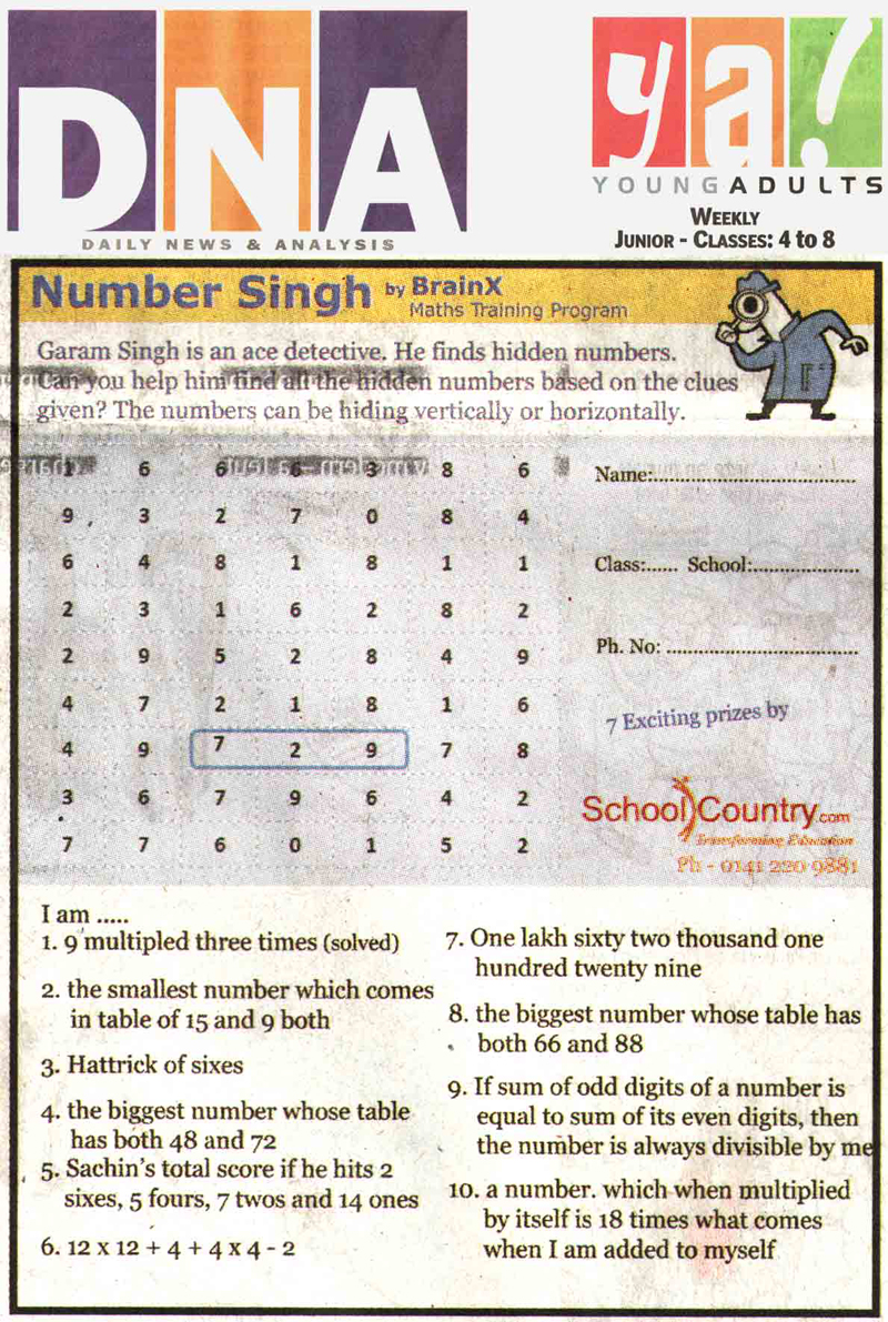 Number Singh Contest by BrainX Math Training Program published in DNA Ya! on 6-01-2012.