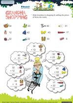 Grade 1 Math Worksheet - Grandma Shopping