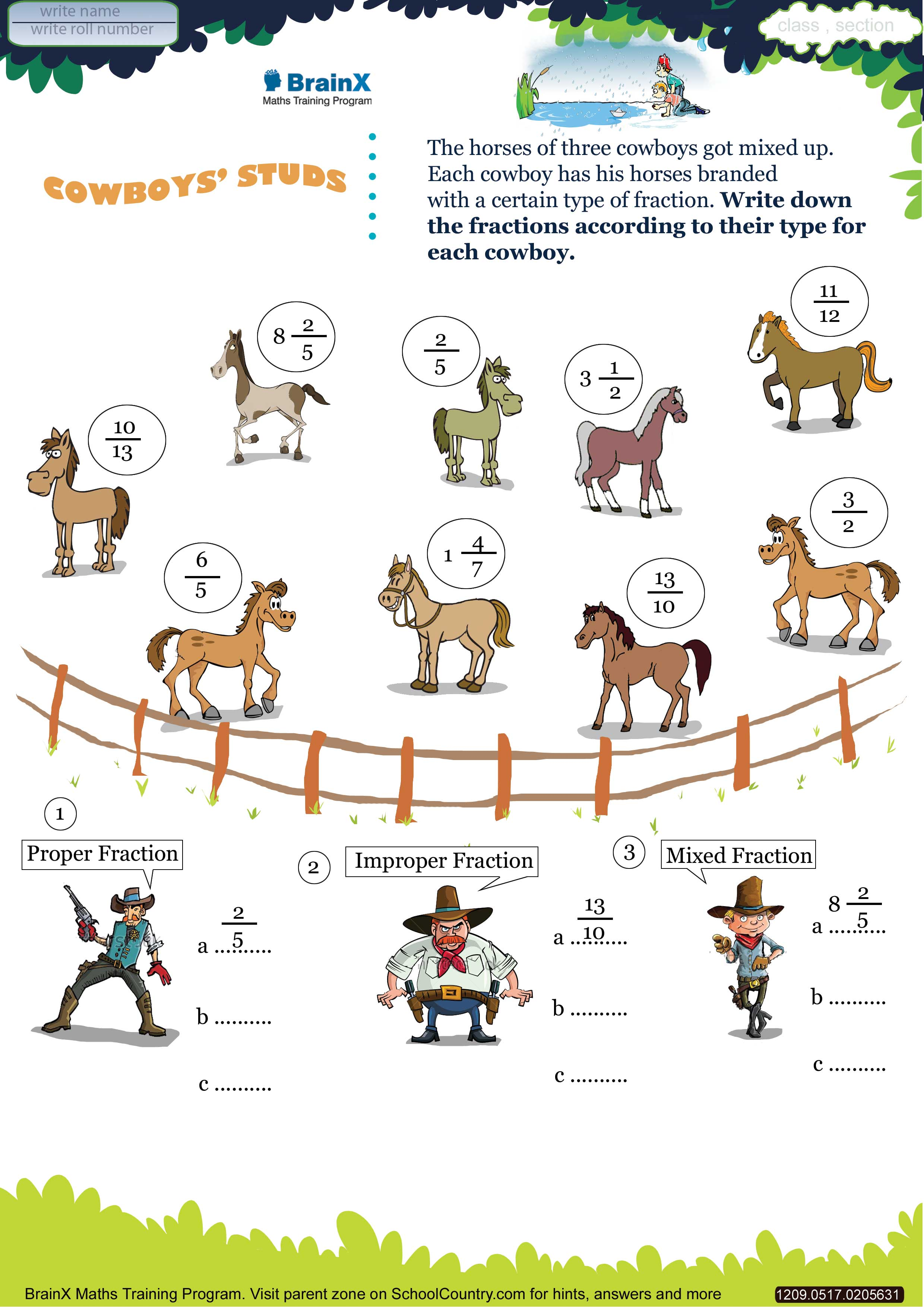 Printable Fractions Math olympiad Worksheet Cowboy studs – Math Olympiad Worksheets