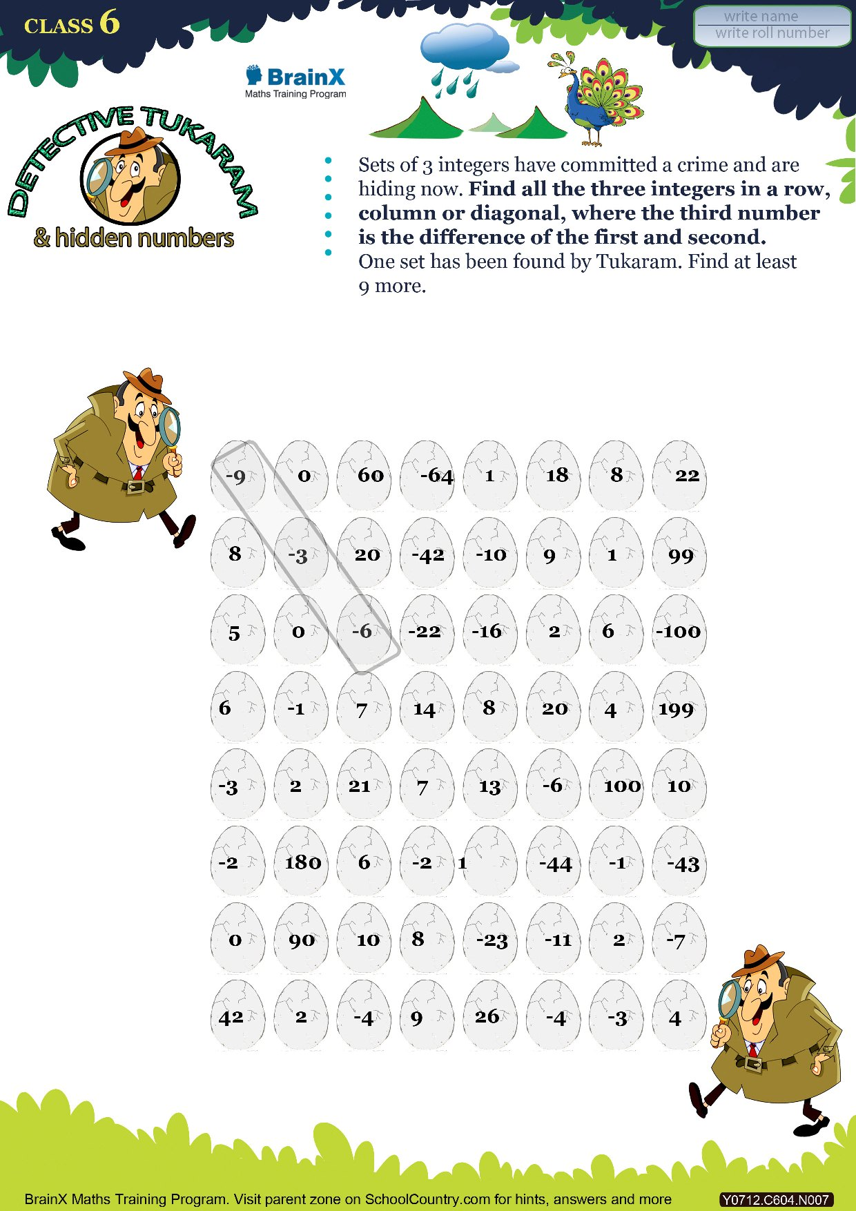 Printable Numbers Math Olympiad Worksheet Detective Tukaram And