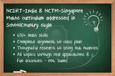 NCERT-India & NCTM-Singapore Math curriculum addressed in SchoolCountry style