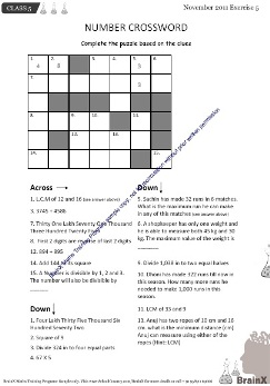 Number crossword - maths game for students of class 2, class 3, class 4, class 5 and class 6